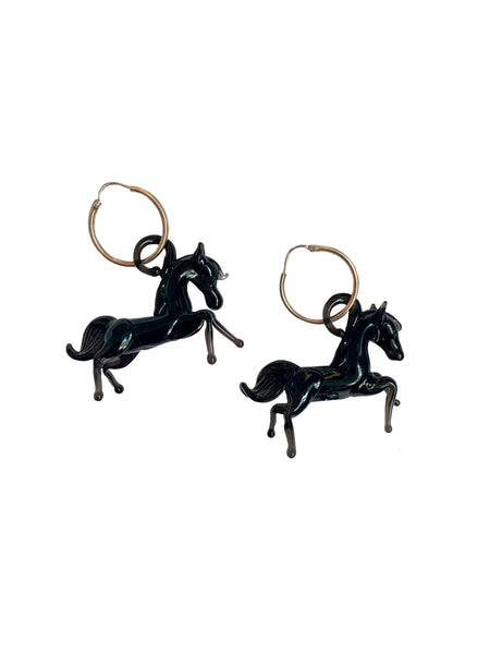 Black Horse Earrings