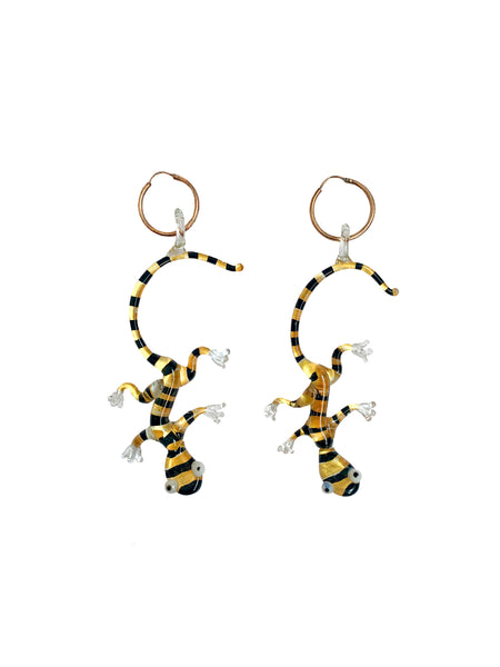 Black & Yellow Gecko Earrings