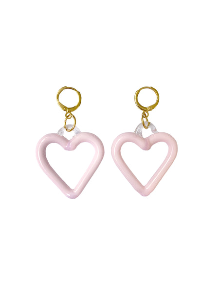 Pink Heart of Glass Earrings