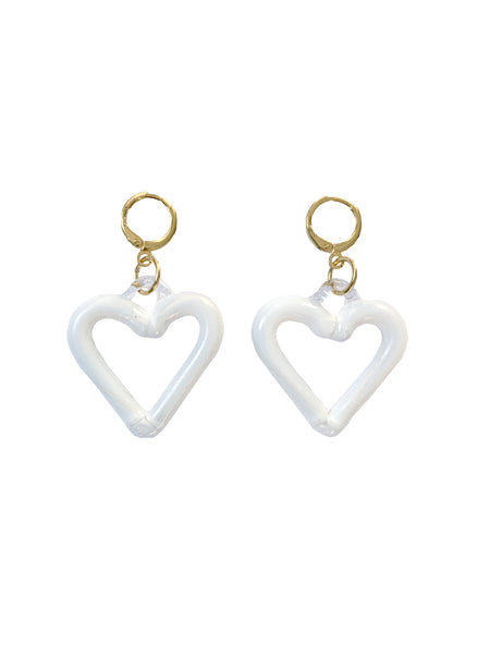 White Heart of Glass Earrings