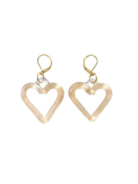 Translucent Yellow Heart of Glass Earrings