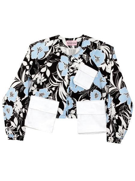 Blue Flower Multi-Poket Jacket