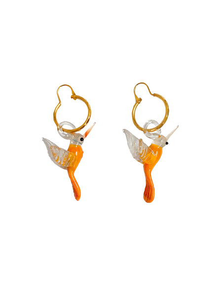Orange Hummingbird Earrings