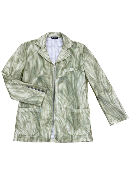 Green Wiggly Transparent Zip-Up Lined Jacket