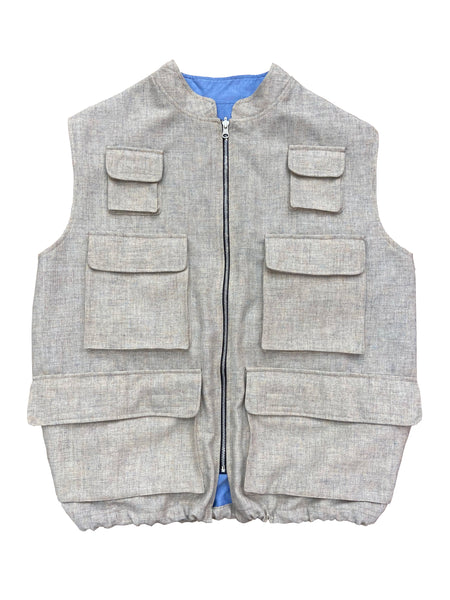 Double Sided Wool/Oxford 8 Pocket Vest