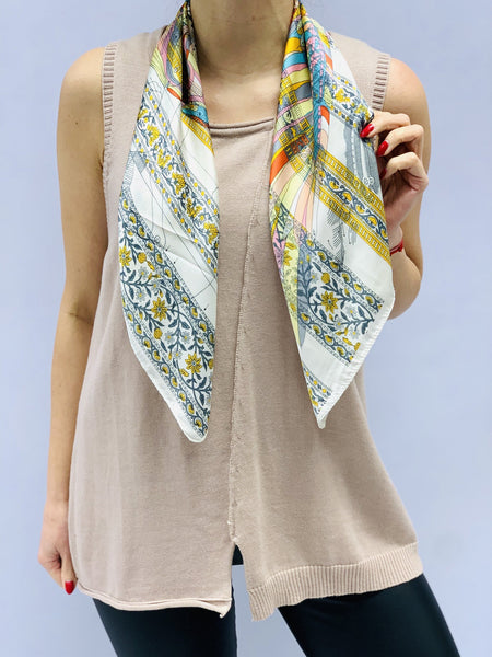 Small Floral Print Silk Style Scarf