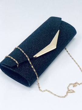 """BECKY"" Black Envelope Clutch Bag"
