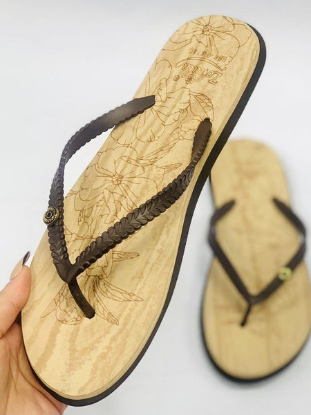 """ZOHULA"" Brown Cork Effect Flip Flops"