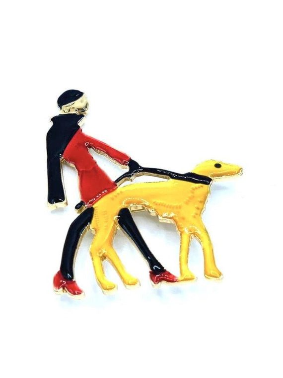 Man Walking A Dog Brooch