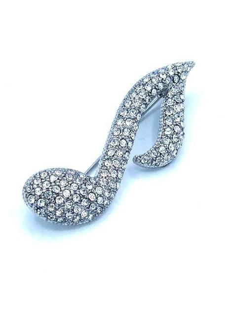 Silver Embellished Musical Note Brooch