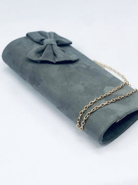 """DONNA"" Grey Bow Clutch Bag"
