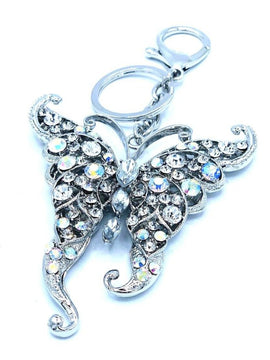 Silver Embellished Butterfly Keyring