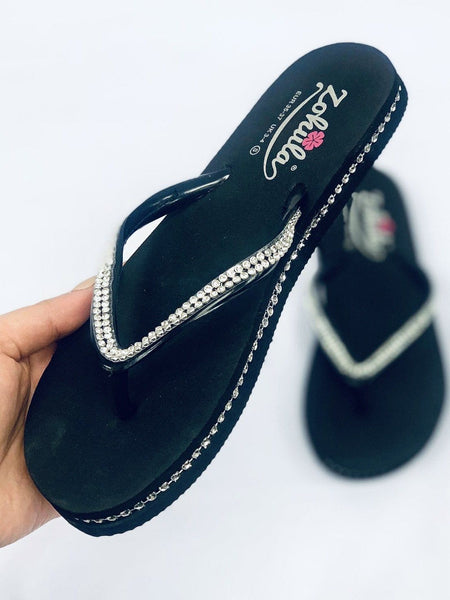 """ZOHULA"" Black Diamanté Flip Flops"
