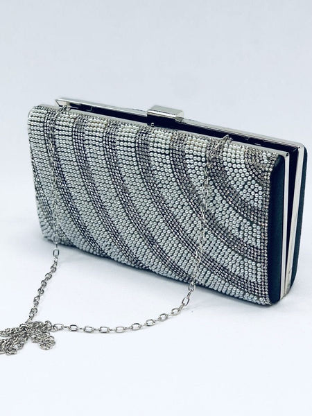 """EVERLEY"" Silver & Black Clutch"