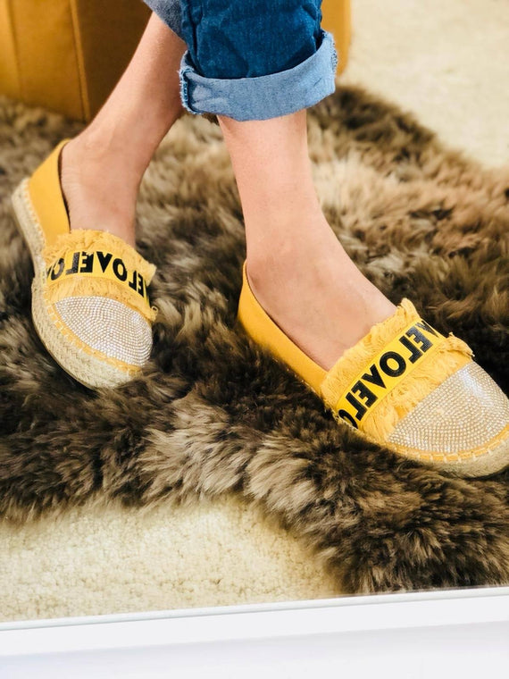 """BRIANA"" Mustard LOVE Espadrille With Silver Embellishment"
