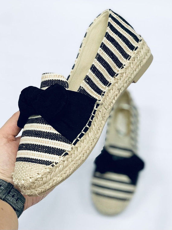 "No.24""ROSIE"" Black Stripe Slip On Espadrille"