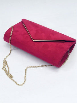 """BECKY"" Cerise Envelope Clutch Bag"