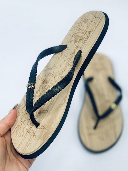"""ZOHULA"" Black Cork Effect Flip Flops"