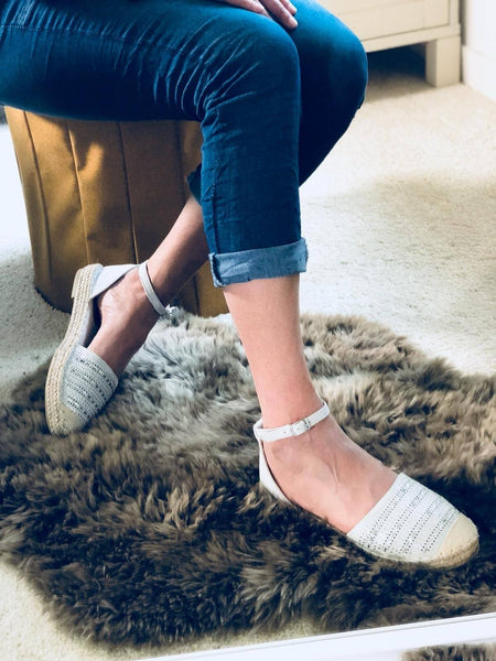 """AMY"" Silver Espadrille"