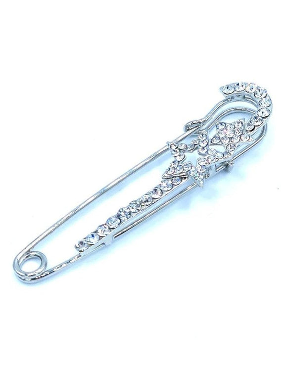 Silver Star Embellished Safety Pin Brooch