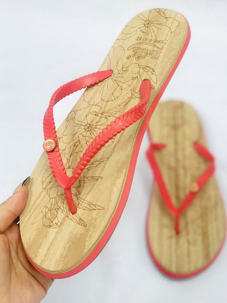 """ZOHULA"" Hot Pink Cork Effect Flip Flops"