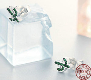 CACTUS 925 Sterling Silver Cz Stud Earrings - 2 Colours Available! - Pompous Peacock