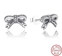 Load image into Gallery viewer, BOW Dainty 925 Sterling Silver Stud Earrings - Pompous Peacock