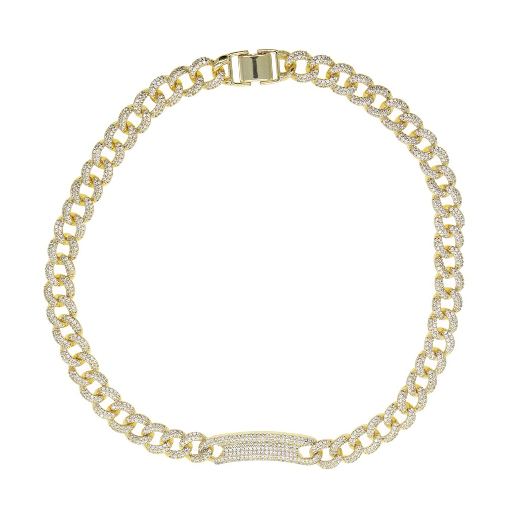PRISCILLA Luxe Cz Gold Plated Chain Link Choker Necklace - 2 Colours Available! - Pompous Peacock