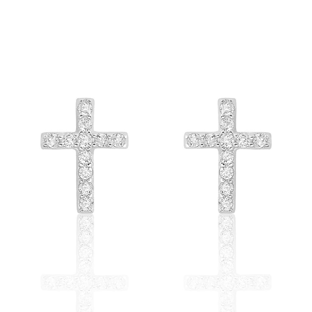 FAITH Cross 925 Sterling Silver Cubic Zirconia Earrings - Pompous Peacock