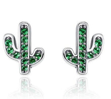 Load image into Gallery viewer, CACTUS 925 Sterling Silver Cz Stud Earrings - 2 Colours Available! - Pompous Peacock