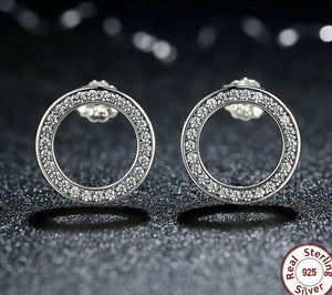 CIRCLE FOREVER 925 Sterling Silver Cz Stud Earrings - 2 Colours Available! - Pompous Peacock