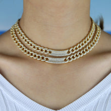 Load image into Gallery viewer, PRISCILLA Luxe Cz Gold Plated Chain Link Choker Necklace - 2 Colours Available! - Pompous Peacock