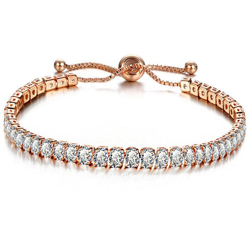 SHINE Gold Plated Cz Adjustable Tennis Bracelet - Pompous Peacock