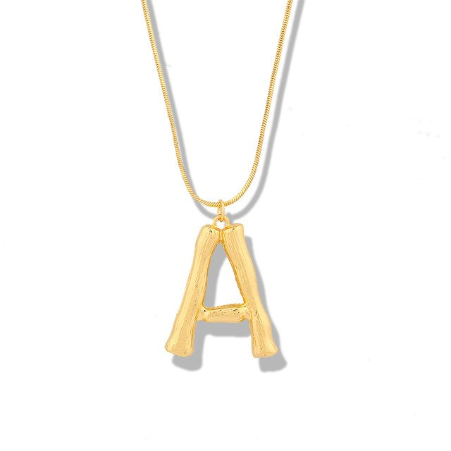BAMBOO Gold Letter Initial Pendant Necklace - Pompous Peacock