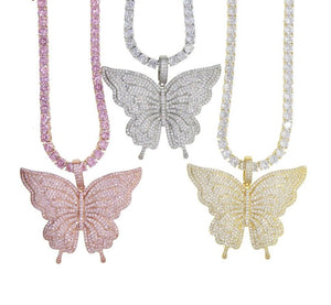 BUTTERFLY GLAM Luxe Pendant Tennis Necklace - 3 Colours Available! - Pompous Peacock