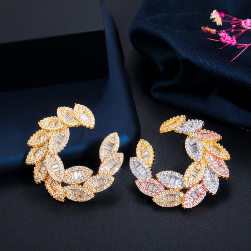 GLAMFOLIAGE Luxe Gold Plated Cz Drop Earrings - Pompous Peacock