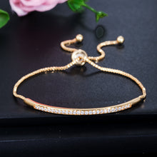 Load image into Gallery viewer, BANGLEBAR Adjustable Cz Gold Plated Bracelet - 3 Colours Available! - Pompous Peacock