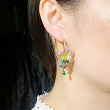 Load image into Gallery viewer, GLAMFLORA Luxe Cz Gold Plated Hoop Earrings - Pompous Peacock
