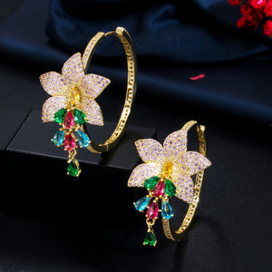 GLAMFLORA Luxe Cz Gold Plated Hoop Earrings - Pompous Peacock