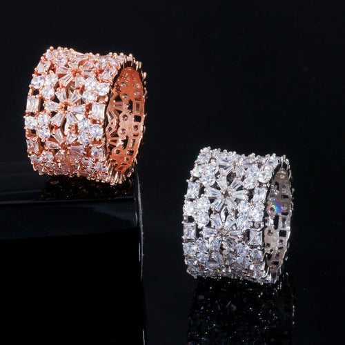 GLAM Luxe Cz Gold Plated Caged Ring - 2 Colours Available! - Pompous Peacock