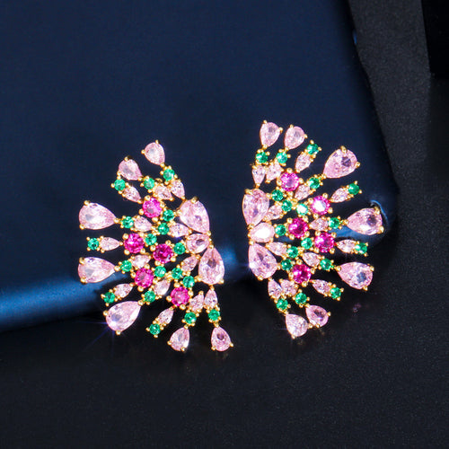 POMPOUS FAN Luxe Cz Earrings - Pompous Peacock