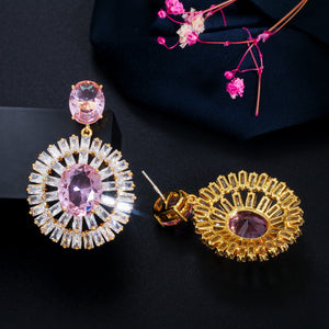 MARIGOLD Luxe Cz Gold Plated Drop Earrings - Pompous Peacock