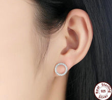 Load image into Gallery viewer, CIRCLE FOREVER 925 Sterling Silver Cz Stud Earrings - 2 Colours Available! - Pompous Peacock