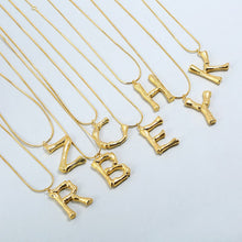 Load image into Gallery viewer, BAMBOO Gold Letter Initial Pendant Necklace - Pompous Peacock