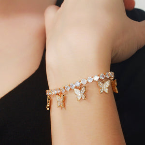 BUTTERFLY Gold Plated Adjustable Tennis Bracelet - 2 Colours Available! - Pompous Peacock