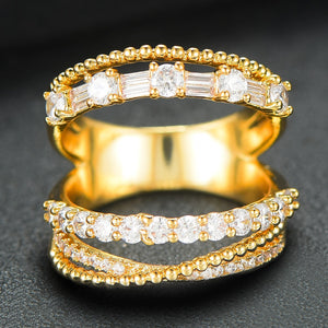 LAYLA Luxe Gold Plated 5 in 1 Stackable Rings - 6 Colours Available! - Pompous Peacock