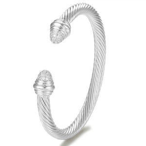 GISELLE Luxe Platinum Plated Cable Bangle Cuff Bracelet COLLECTION - Pompous Peacock