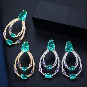 POMPOUS TROPICS Cz Hoop Earrings - 2 Colours Available! - Pompous Peacock