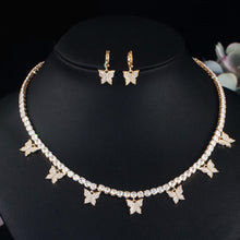 Load image into Gallery viewer, BUTTERFLY Gold Plated Tennis Jewelry 2 Piece Set - Pompous Peacock