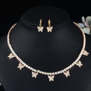 BUTTERFLY Gold Plated Tennis Jewelry 2 Piece Set - Pompous Peacock